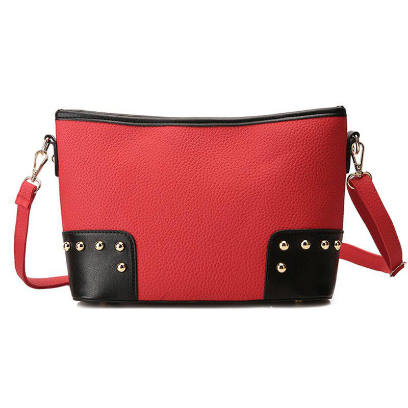 Latest Studded Color Block Shoulder Bag