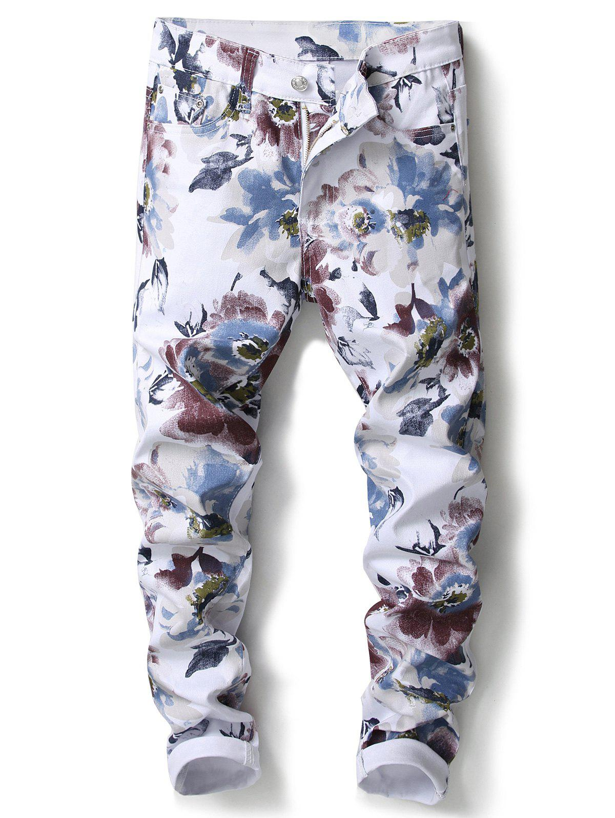 Cheap Flowers Pattern Skinny Jeans