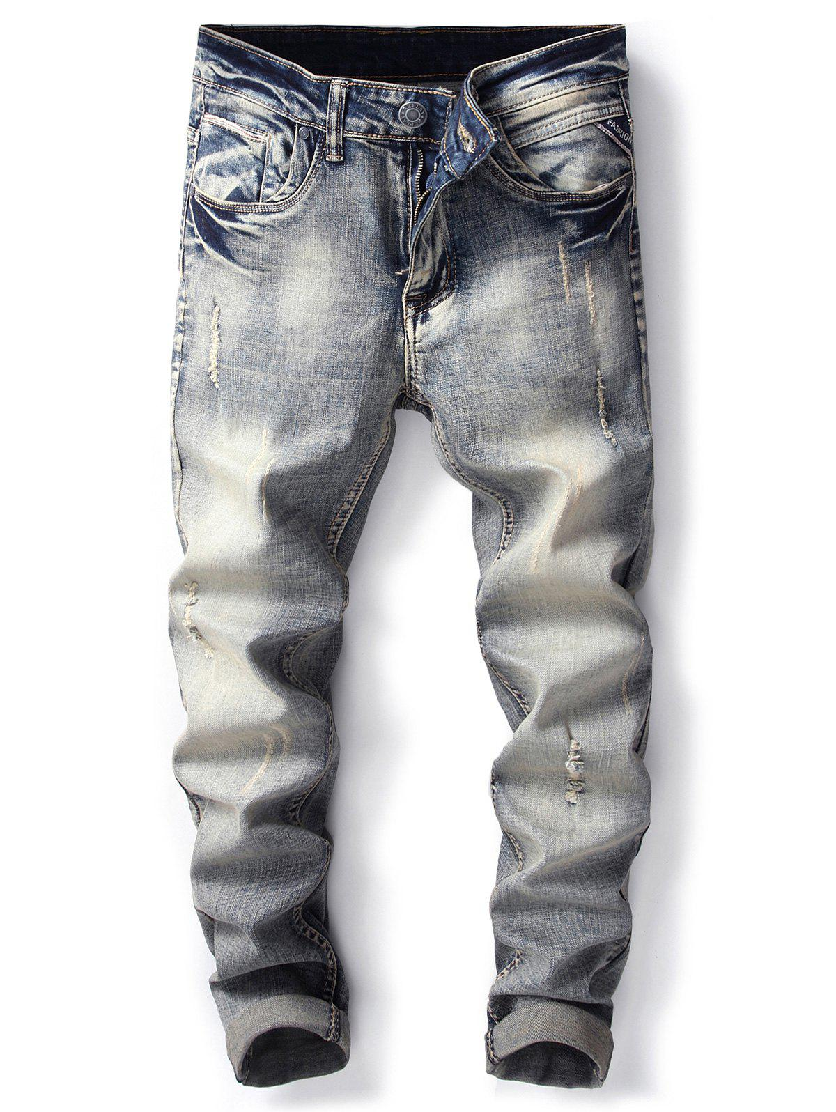 Fancy Bleached Effect Straight Leg Ripped Jeans