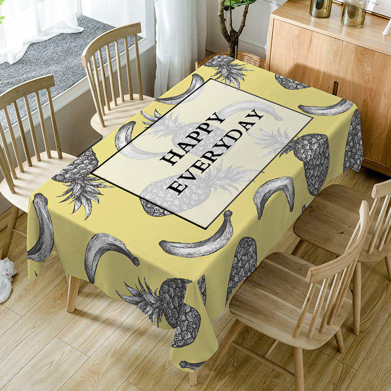 Nappe de Table Imperméable à Imprimé Inscriptions Happy Everyday et Fruits Multicolore W54 pouces * L54 pouces