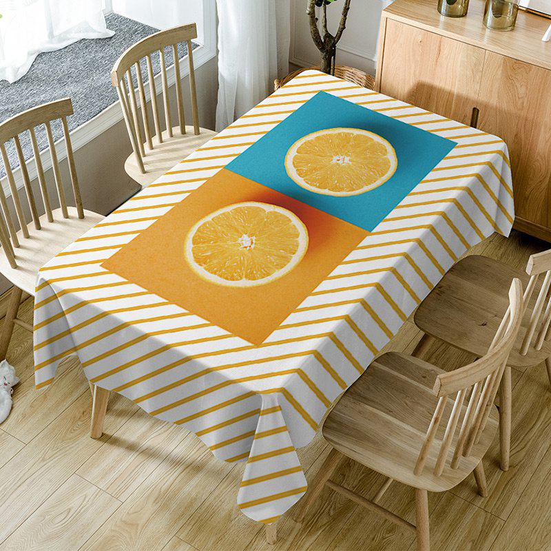 Nappe de Table Imperméable à Imprimé Orange et Rayures Orange W54 pouces * L72 pouces