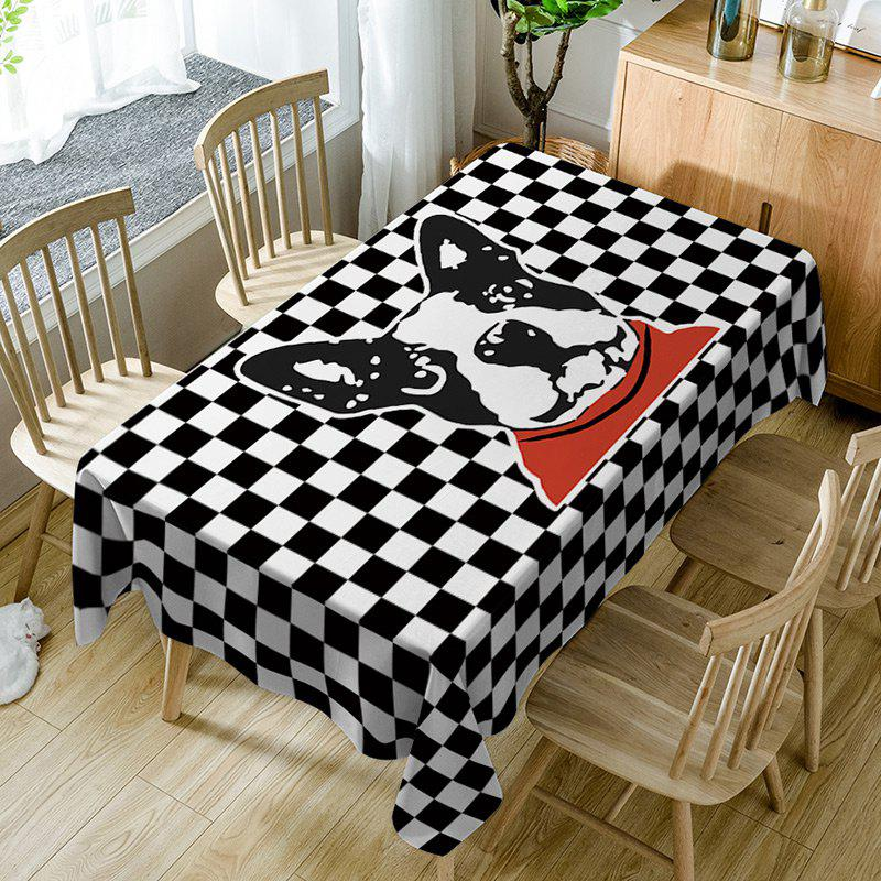 Best Dog Plaid Print Waterproof Table Cloth