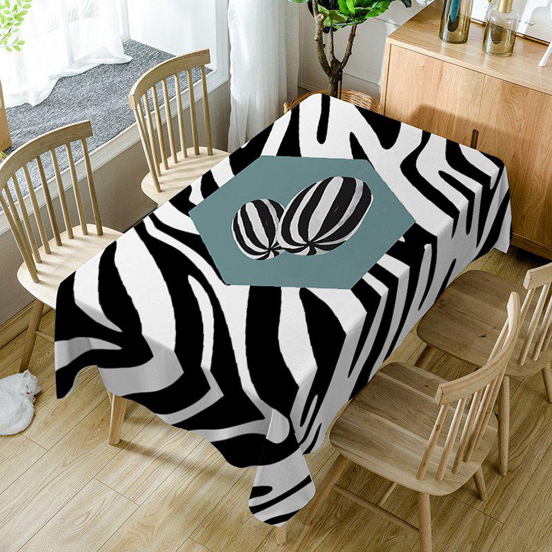 Trendy Zebra Print Fabric Waterproof Dining Table Cloth