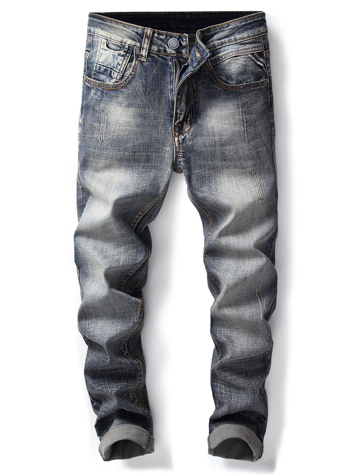 Unique Bleach Wash Straight Leg Ripped Jeans