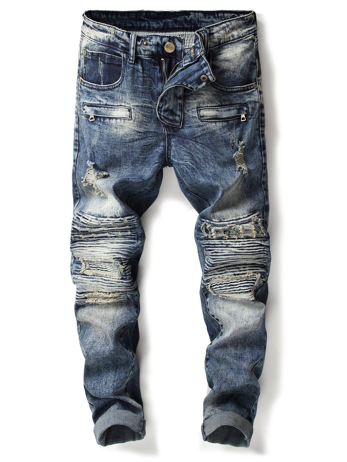 Sale Bleached Accordion Pleat Ripped Biker Jeans