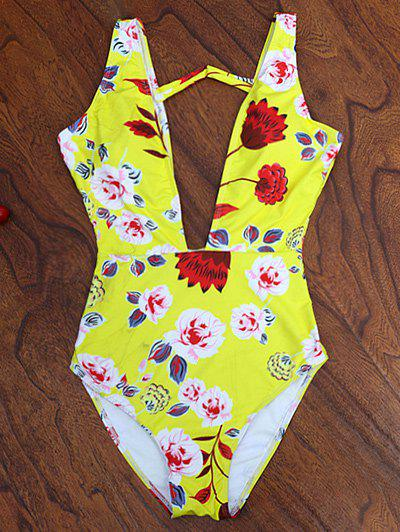 New One Piece Plunging High Cut Floral Swimwear