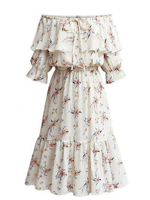 Discount Plus Size Floral Off The Shoulder Dress