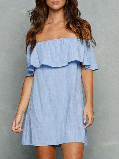 Hot Flounce Trim Off The Shoulder Dress