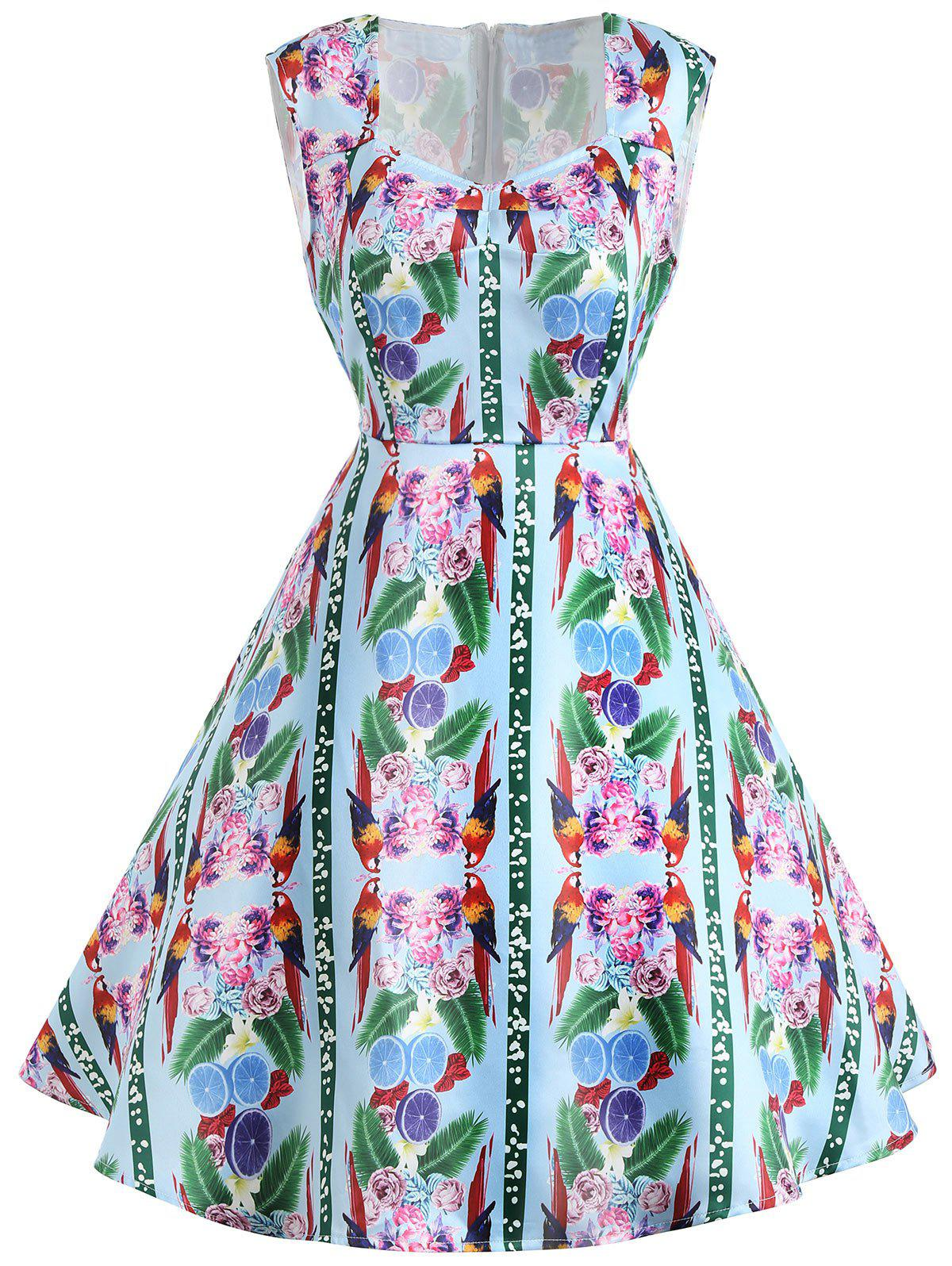 Trendy Sleeveless Flower Print Vintage Dress