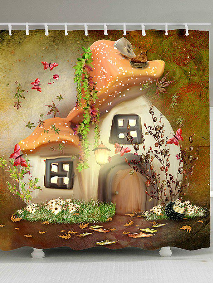 New Fairy Mushroom House Print Fabric Shower Curtain