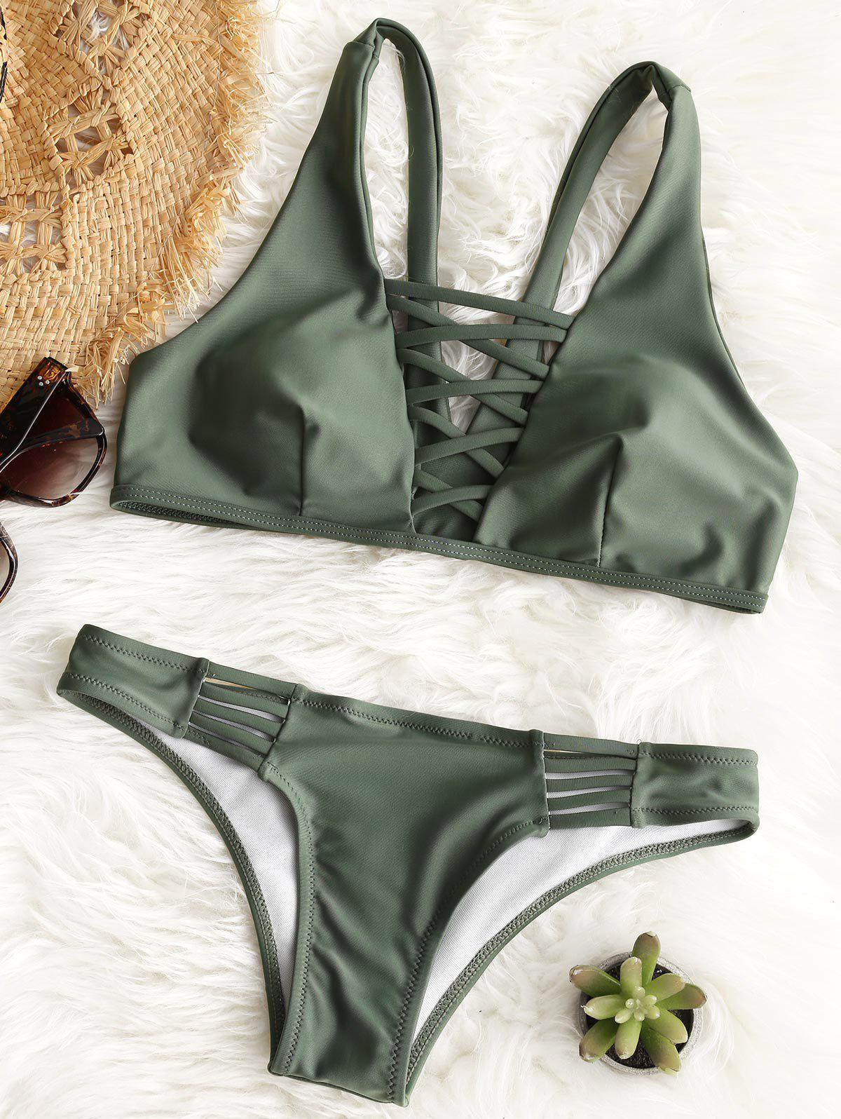 Outfit Lattice Front Padded Bathing Suit