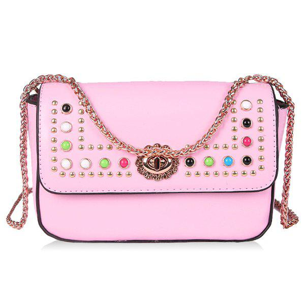 2018 Colorful Rivets Pu Leather Crossbody Bag In Pink  c05466000cd76