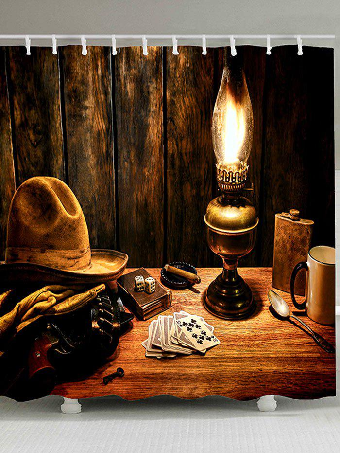 Store Cowboy Hat Lamp Printed Shower Curtain