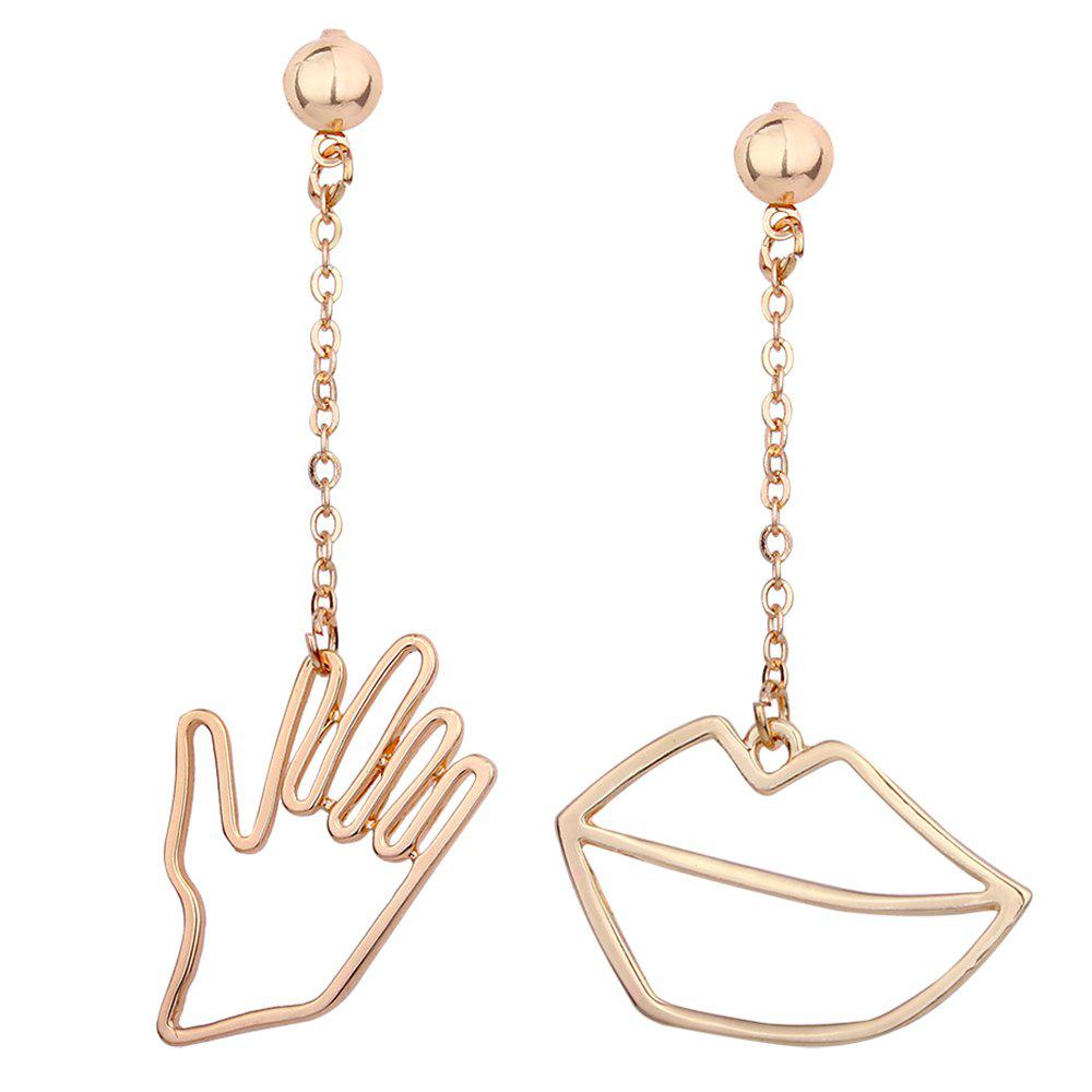 Shops Metal Hand Lips Asymmetric Chain Earrings