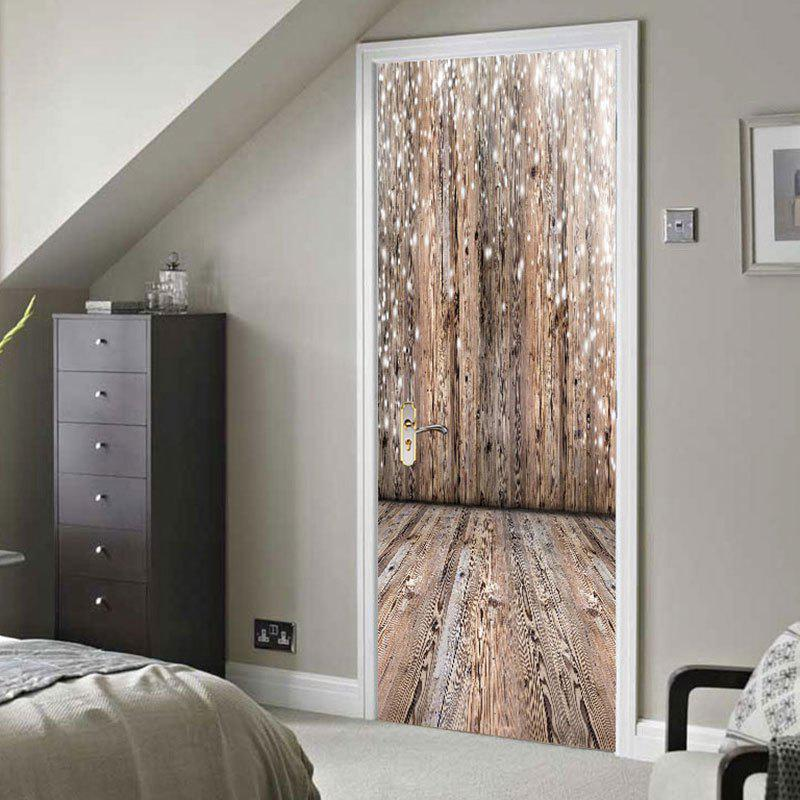 Trendy Wooden Board Print Door Stickers