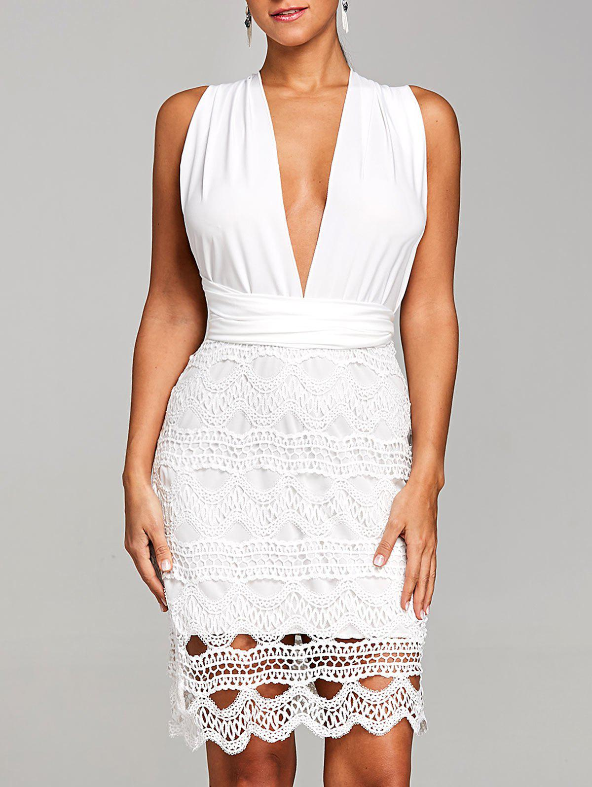 Trendy Plunging Crochet Scalloped Club Dress