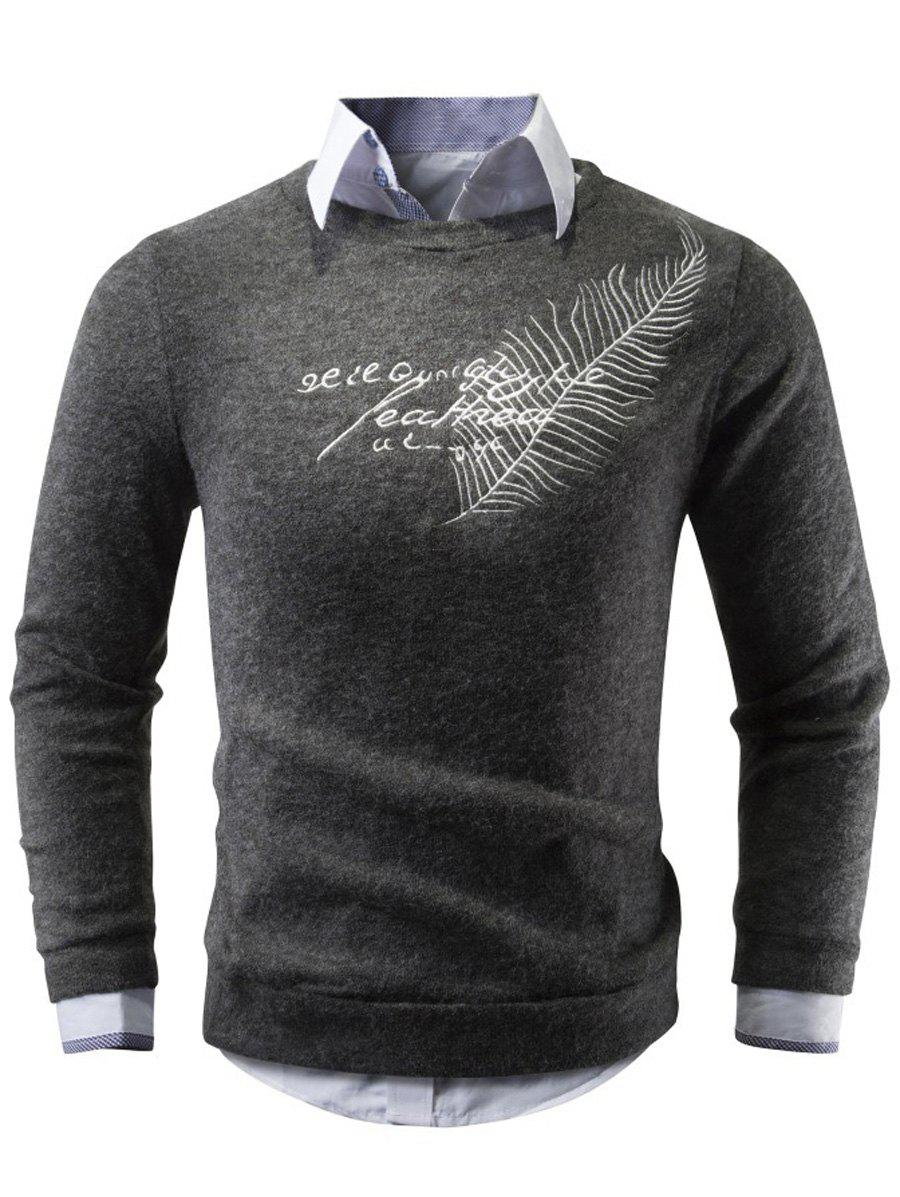 Sale Crew Neck Leaf Embroidered Sweater