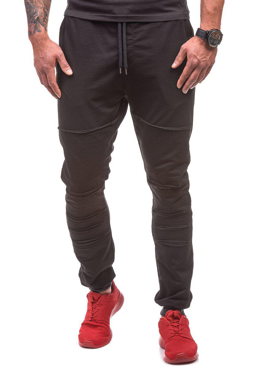 Affordable Drawstring Waist Ripped Jogger Sweatpants