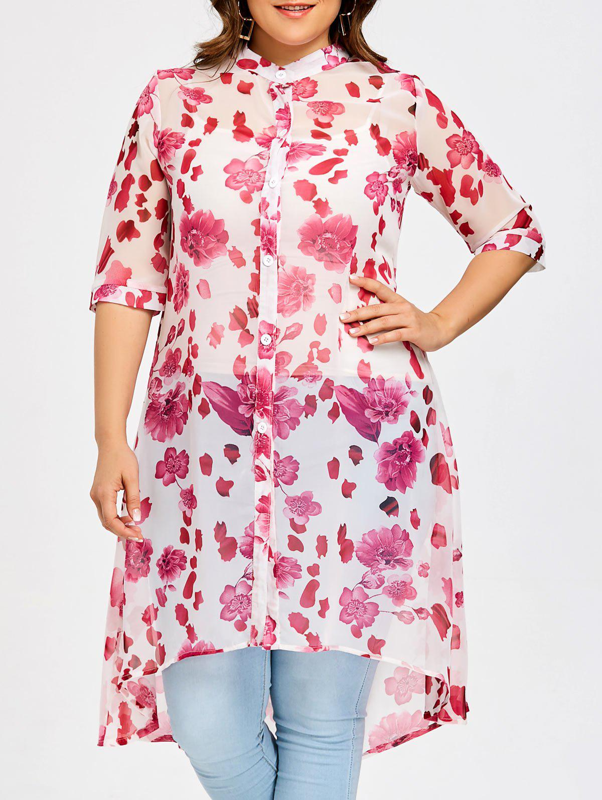 Affordable Rose Plus Size Chiffon Long High Low Top