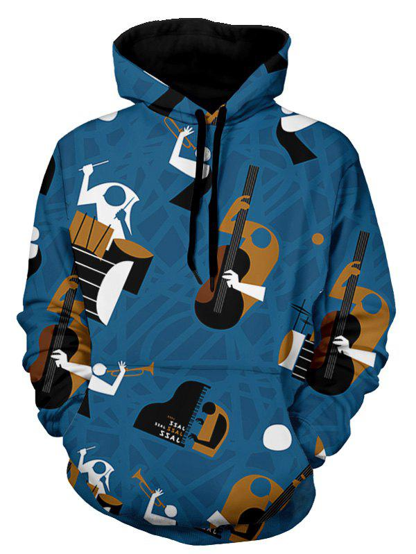 Affordable Abstract Musical Instruments Pattern Pullover Hoodie
