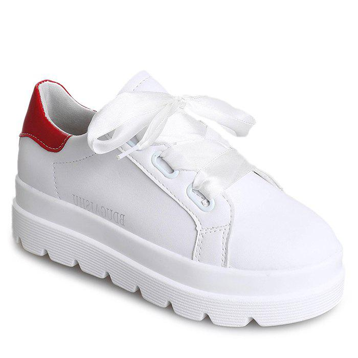 Shops PU Leather Platform Heel Sneakers