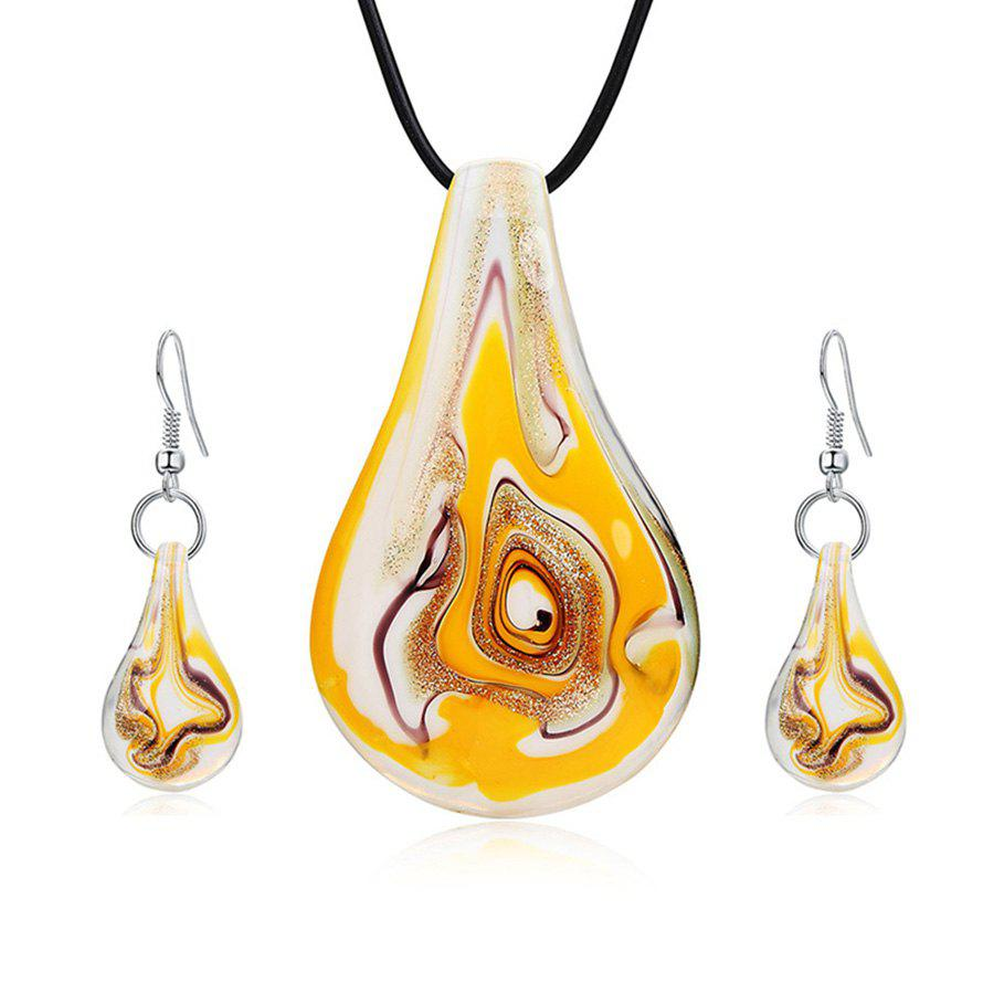 Affordable Coloured Glaze Water Drop Shape Drop Earrings and Necklace