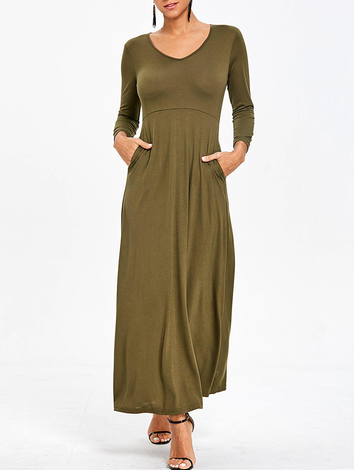 Fashion Empire Waist V Neck Maxi Dress with Pockets
