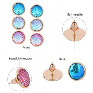 Colorful Scale Embellished Round Stud Earrings Set -