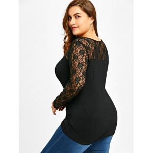 Plus Size Lace Yoke Lattice U Neck Top -