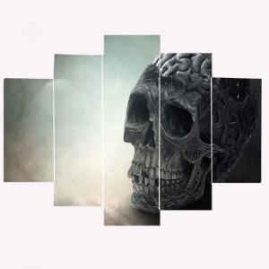 Skull Pattern Split Unframed Canvas Paintings -