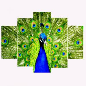 Peacock Pattern Unframed Split Canvas Paintings -