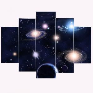 Galaxy Patterned Split Unframed Canvas Paintings -