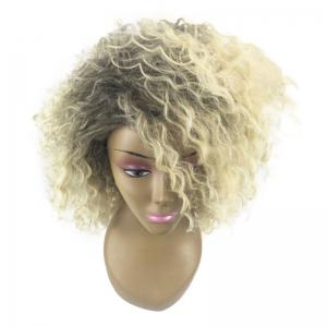 Medium Colormix Inclined Bang Fluffy Wavy Synthetic Wig -
