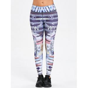 Art Print Skinny Sports Leggings -