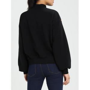 High Neck Puff Sleeve Sweatshirt -