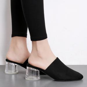 Transparent Middle Heel Mules Shoes -