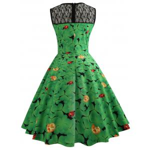 Leaf Ladybird Print Lace Insert Vintage Dress -