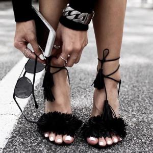 Lace Up Sandals with Tassels -