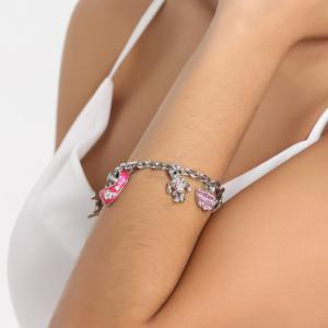 Rhinestone Bear Whistling Grape Charm Bracelet -