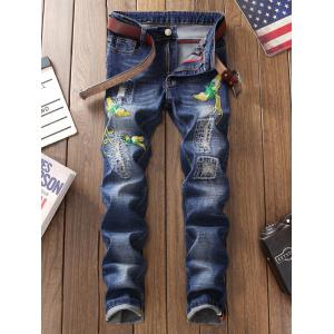 Straight Leg Phoenix Embroidered Distressed Jeans -