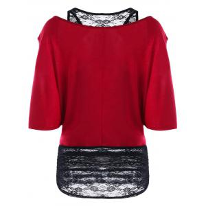 Lace Panel Two Tone Cold Shoulder T-shirt -