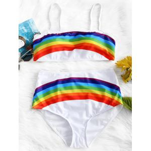 Rainbow Print High Waisted Bikini Set -