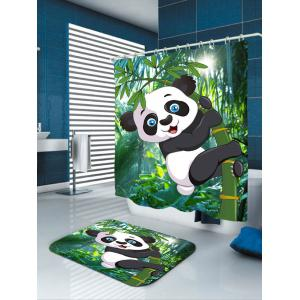 Cartoon Panda Hugging Bamboo Printed Shower Curtain -