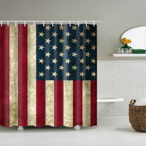 Mouldproof Waterproof Patriotic American Flag Shower Curtain -