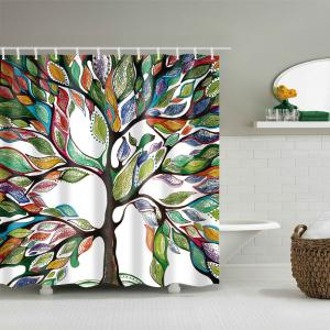 Waterproof Colorful Tree Printed Shower Curtain -
