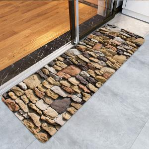 Gravel Stones Print Water Absorption Area Rug -