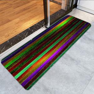 Colorful Wood Grain Print Water Absorption Area Rug -