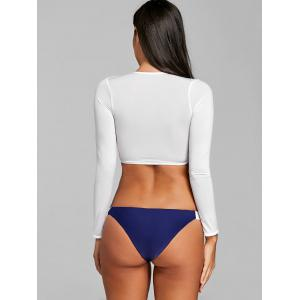 Long Sleeve Two Tone Swim Top with Thong -
