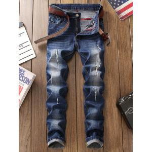 Zip Fly Straight Leg Frayed Jeans -