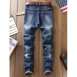 Straight Leg Destroyed Jeans with Patches -